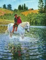 children on a horse Nikolay Bogdanov Belsky  kids animal pet
