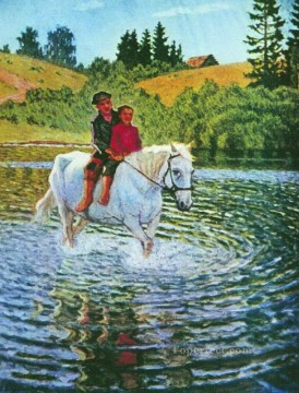 children on a horse Nikolay Bogdanov Belsky  kids animal pet Oil Paintings