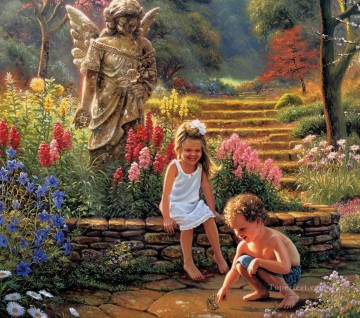 kids and butterly at garden pet kids Oil Paintings