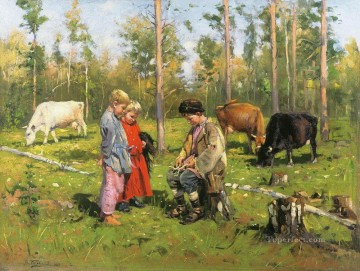 Artworks in 150 Subjects Painting - shepherds 1904 Vladimir Makovsky kids animal