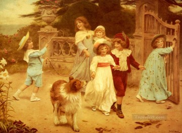 idyllic Painting - Home Team idyllic children Arthur John Elsley pet kids