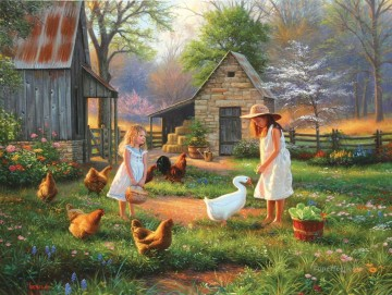 kids Art - girls with goose hen at evening pet kids
