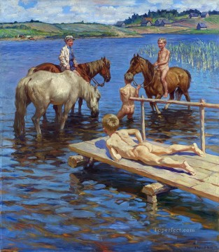horses bathing Nikolay Bogdanov Belsky  kids animal pet Oil Paintings