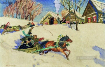 shrovetide 1920 1 Boris Mikhailovich Kustodiev kids animal pet Oil Paintings