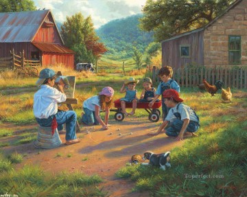 playing kids at country house with puppy cow chicken pet kids Oil Paintings
