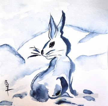watercolor painting - snow bunny beverley watercolor