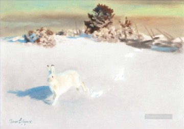 Arctic white hare snow Oil Paintings