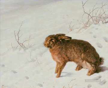 Ferdinand von Rayski Hare in the Snow Oil Paintings