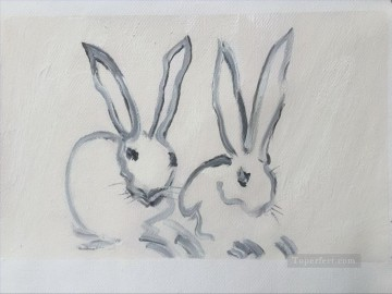 Rabbit Painting - bunny rabbits impasto