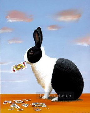 hare and poker Oil Paintings