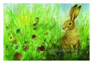 hare flower meadow Oil Paintings