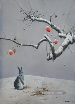 Animal Painting - remaining red and snow bunny