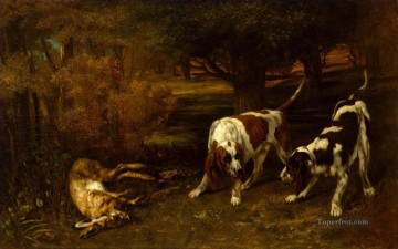 dogs playing poker Painting - Gustave Courbet Hunting Dogs with Dead Hare