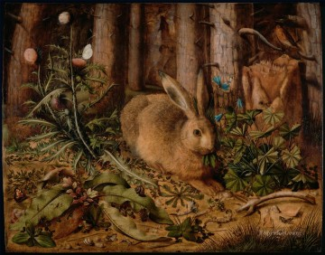 Hans Hoffmann A Hare in the Forest Oil Paintings