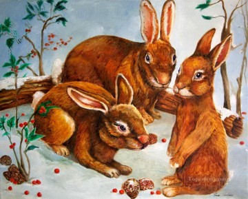 Rabbits in Snow Oil Paintings