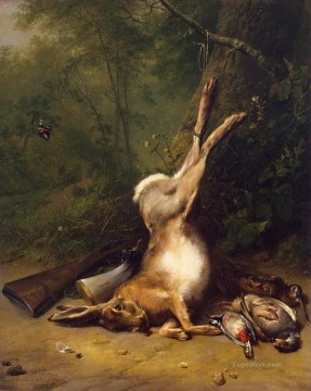 Verboeckhoven Eugene Joseph Koekkoek Barend Cornelis Still Life with a Hare Oil Paintings