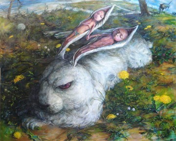 fantastic RABBIT LOVE BED Oil Paintings