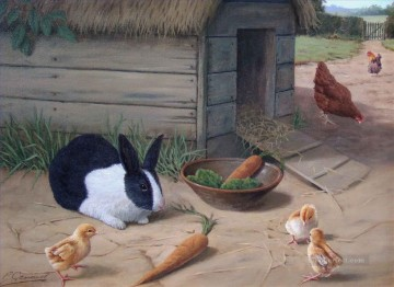 Rabbit Painting - rabbit and chicken in VICTORIAN STYLE
