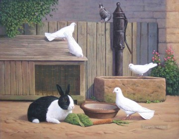 Rabbit Painting - rabbit and pigeons