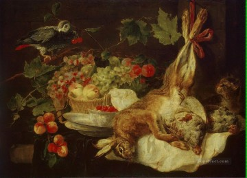 Hare Fruit and Parrot Oil Paintings
