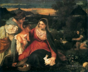 Rabbit Painting - madonna and child with st catherine and a rabbit 1530