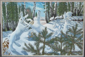 Playing Painting - playing white hares in forest