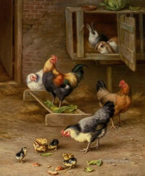 Rabbit Painting - Hunt Edgar Chicks Chickens And Rabbits in a Hutch 1925