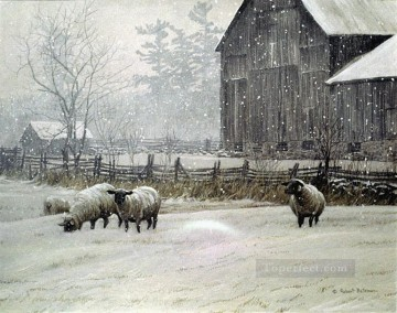 Snowy Sheep Oil Paintings