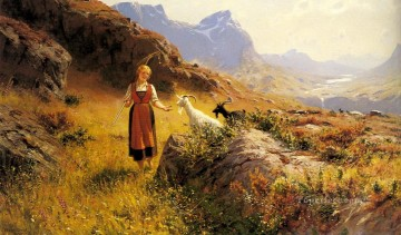 An Alpine Landscapewith a Shepherdess and Goats Oil Paintings