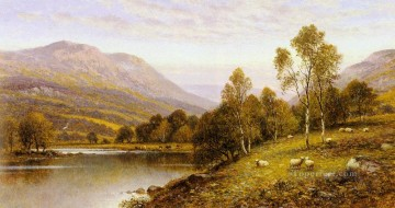 Animal Painting - Early Evening Cumbria landscape Alfred Glendening sheep