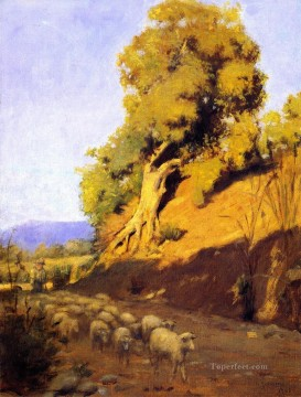 Animal Painting - Granville Redmond xx Shepherd and Flock