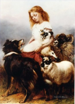 Animal Painting - Herd Lassie shepherdess and dog