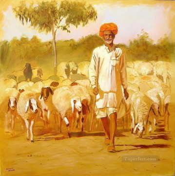 Animal Painting - Indian rajasthani shepherd ramesh jhawar
