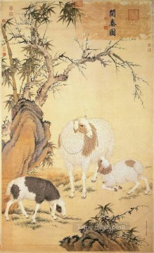 Animal Painting - Lang shining sheep old China ink Giuseppe Castiglione shepherd