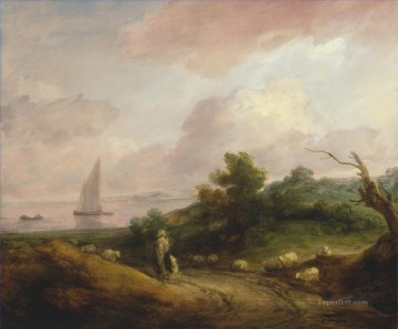 Coast Painting - Thomas Gainsborough Coastal Landscape with a Shepherd and His Flock