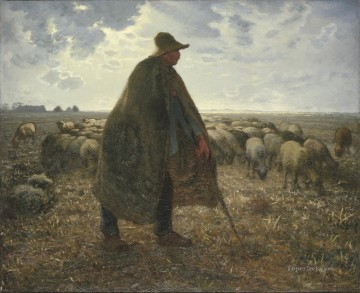 shepherd tending his flock 1860s Oil Paintings