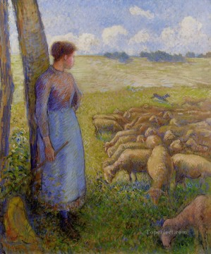 shepherdess and sheep 1887 Camille Pissarro Oil Paintings