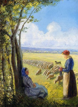 Animal Painting - shepherdesses Camille Pissarro