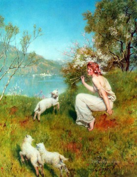spring John Collier Pre Raphaelite Orientalist shepherd Oil Paintings