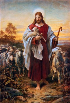 Animal Painting - Bernhard Plockhorst Good Shepherd