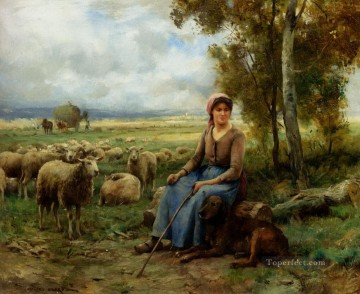 动物绘画 - Dupre Julien Shepherdess Watching Over Her flock