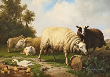 Animal Painting - Eugene Verboeckhoven Schafe und Enten sheep
