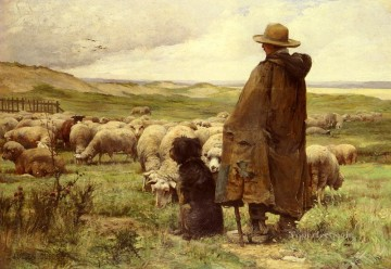 Animal Painting - Le Berger farm life Realism Julien Dupre sheep