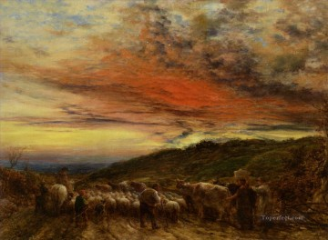 Animal Painting - Linnell John Homeward Bound sunset 1861 sheep