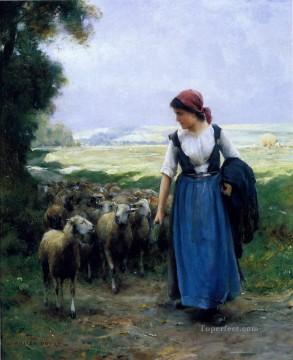 Animal Painting - The young Shep farm life Realism Julien Dupre sheep