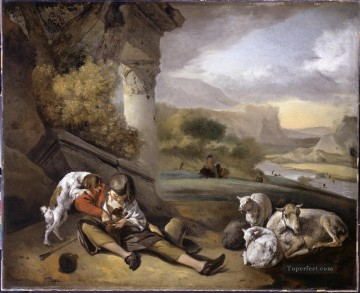 Animal Painting - Weenix Jan Landscape with Shepherd Boy