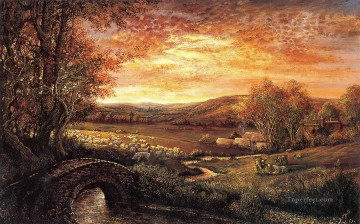 josephine wall evening glow sheep Oil Paintings