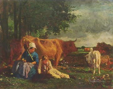 Animal Painting - shepherd pastoral scene