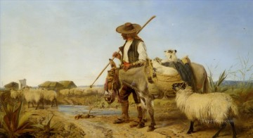 动物绘画 - shepherd with donkey on the way to home