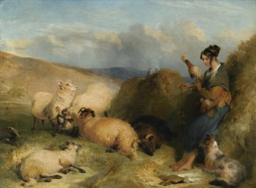 shepherdess with dog Oil Paintings